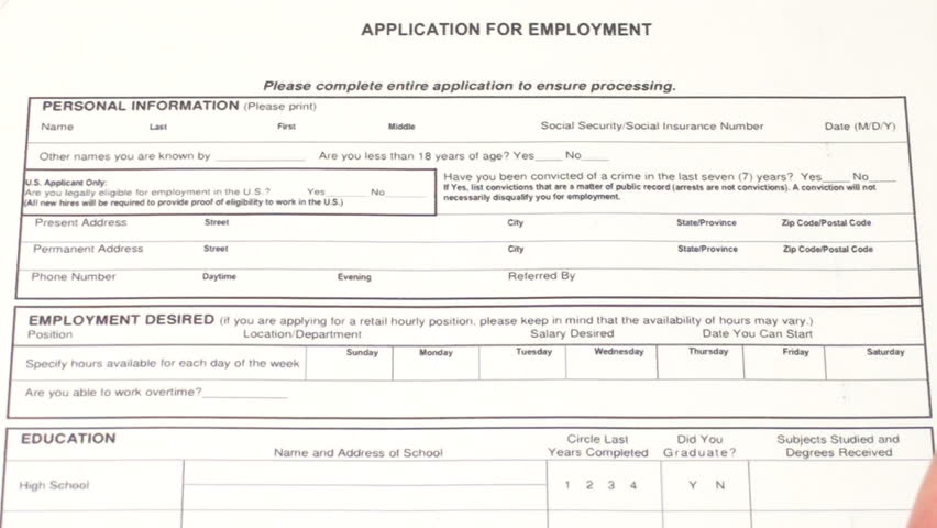 Filling out job application - HD stock video clip