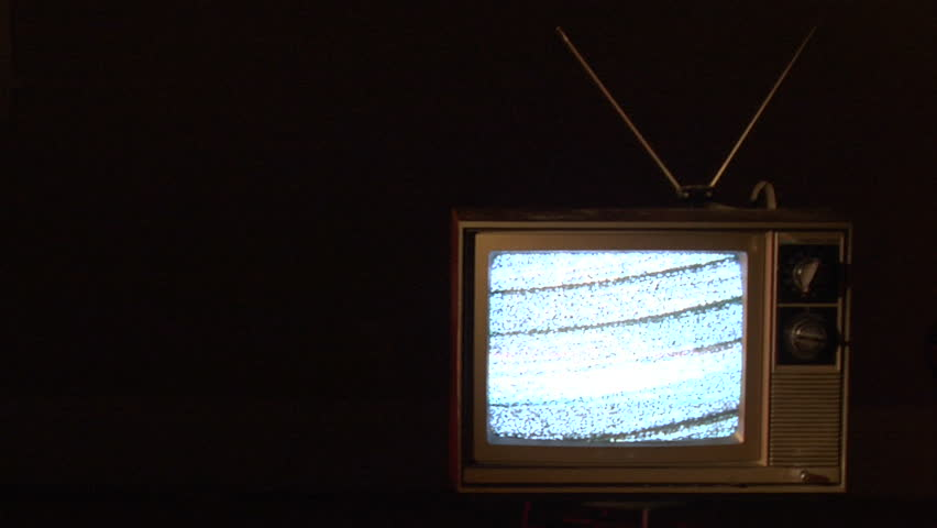 01552 Authentic Static On Old Fashioned Tv Screen At Home