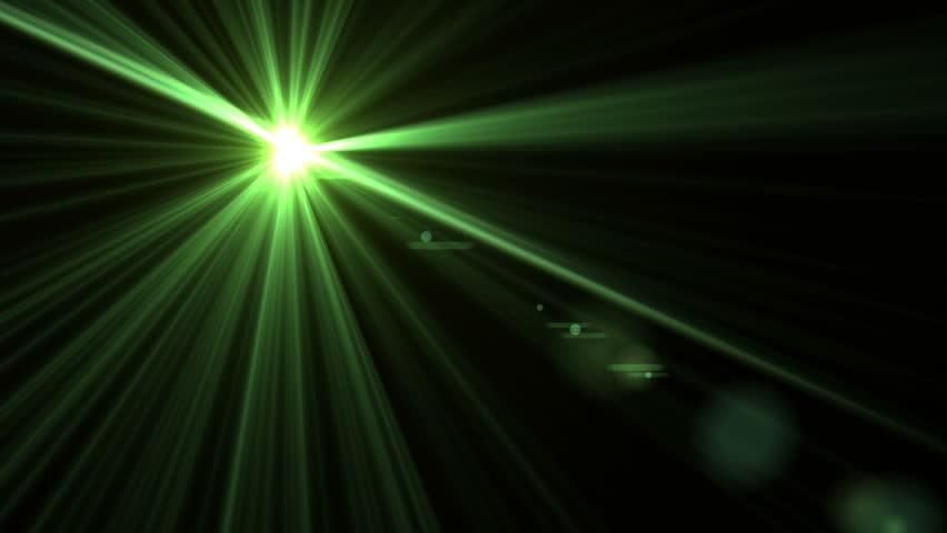 Lens Flare Effect On Black Background (diagonal Green