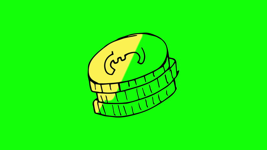 Animation of appearing pile of coins on green screen