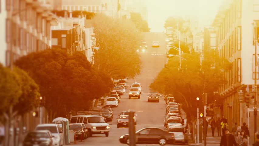 Street of San Francisco bathed in warm golden light.