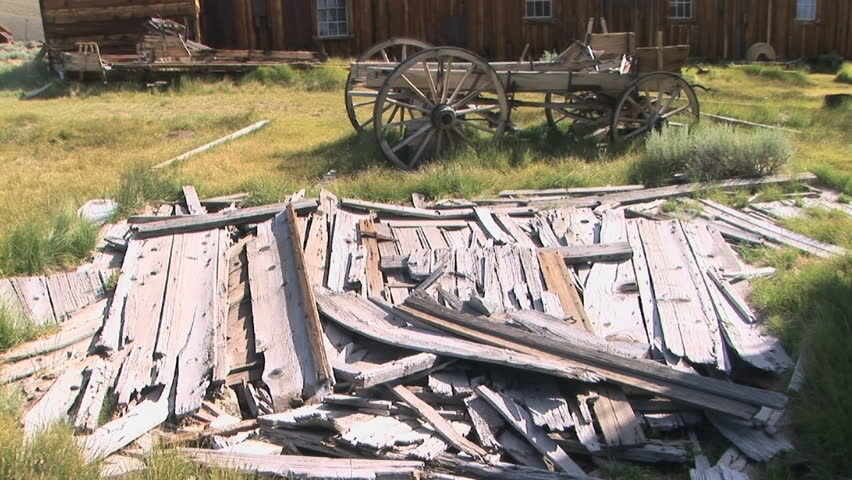 Lumber outside of a sawmill in the ghost town of Bodie - HD stock footage clip