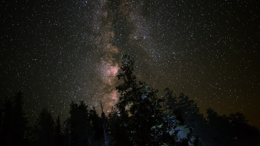 4K Astro Time Lapse of Milky Way Galaxy over Alpine Forest -Tilt Up-