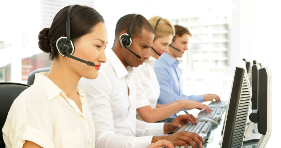 Call centre employees working at the office