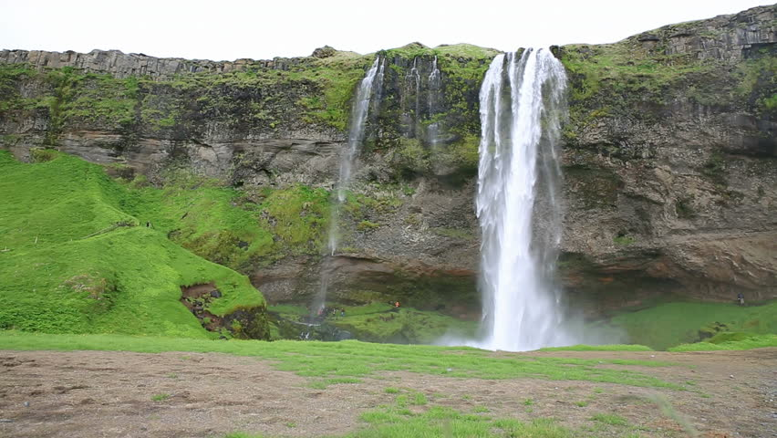 Wide angle view of Seljalandsfoss waterfall in Iceland