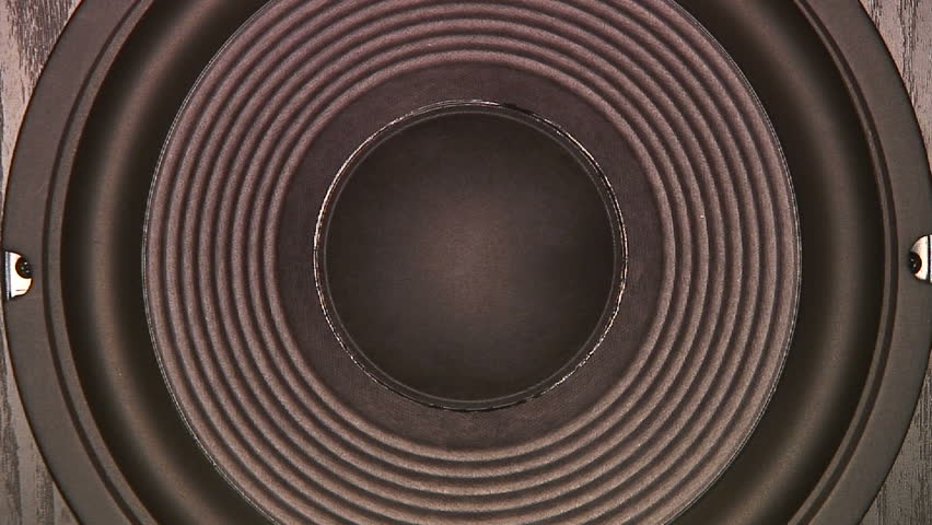 Subwoofer speaker closeup in action. HD 1080 - HD stock footage clip