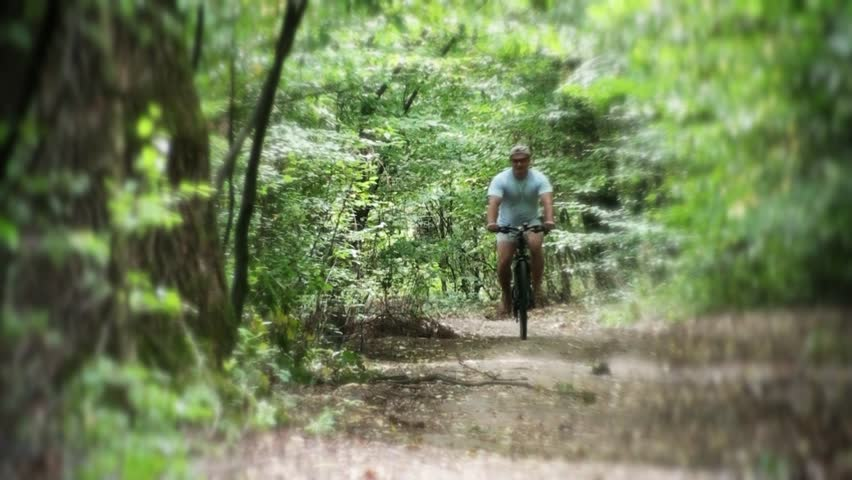 "Bicyclist riding down in the forest - ""blur efect"" - HD stock video clip"