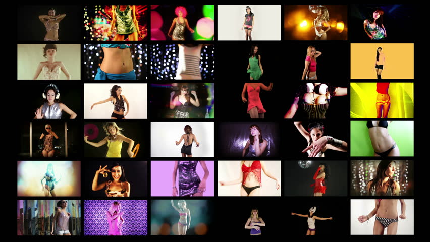 a video wall of HD screens made up from different disco and sexy club dancers. All content is from my own collection and model released. 4k version at 4096x2304 pixels - 4K stock video clip