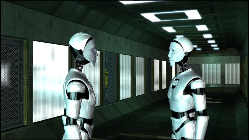 I Robots in a Spaceship Corridor - Video Background