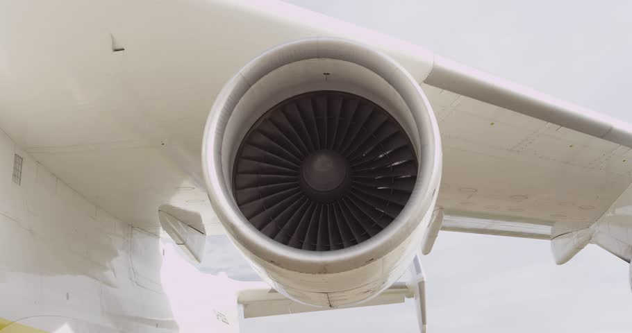Engine Ceiling Fan : Jet engine of an airplane stock footage video