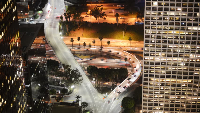 Time Lapse of Busy Freeway Ramp in Downtown Los Angeles during Rush Hour -Zoom In- - HD stock video clip