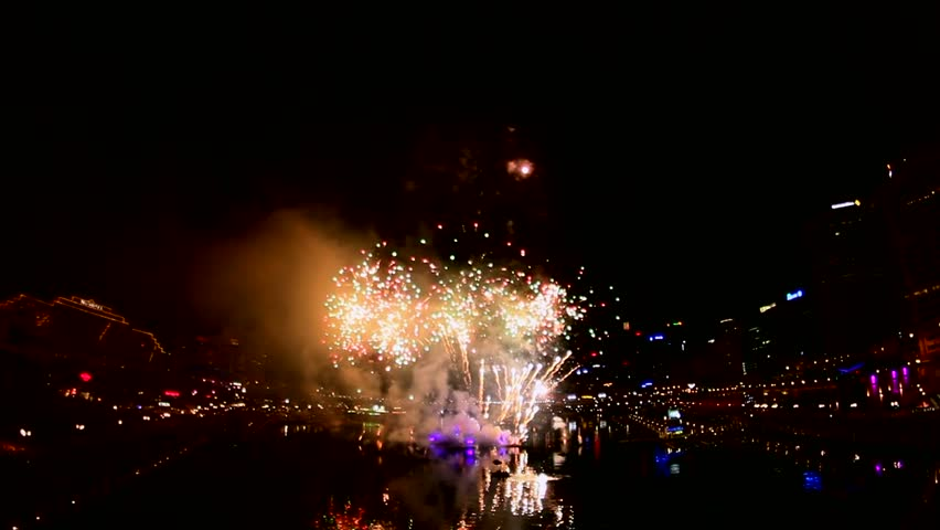 Amazing fireworks celebration - HD stock footage clip