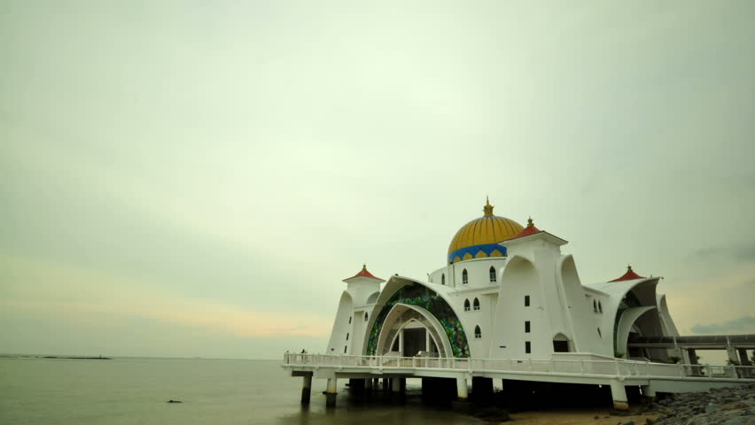 Timelapse over The Selat Melaka Mosque on September 21, 2009 at Malacca, Malaysia.  - HD stock video clip