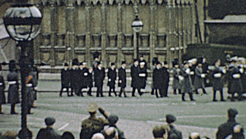 LONDON – 30th January 1965: Winston Churchill funeral parade on 30th January 1965 in London