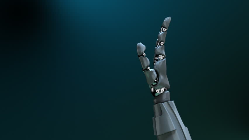 """Animated robot hand gesture """"OK"""" (thumb up). Right side. Alpha channel."""