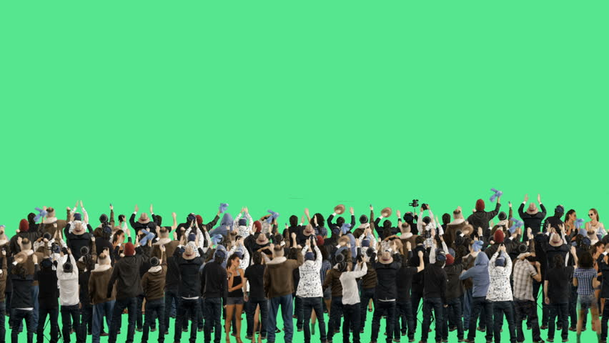 Crowd of people. Green screen. These people are real, shot on green screen.