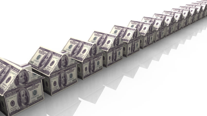 Animation of dollar houses in a line in motion - HD stock video clip