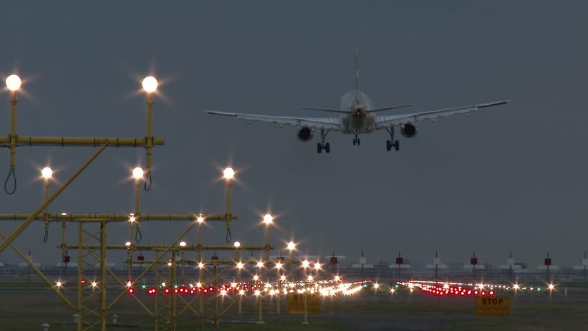 4K Airplane landing, back of plane