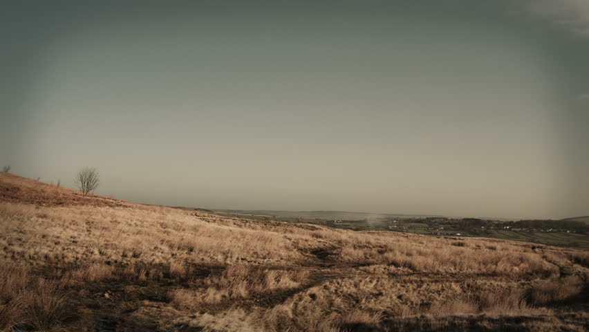 Rural Landscape Scenery HD Stock Footage. A wide angle shot a rural moor with a soft zooming in. Full HD,Color Graded. Blackmagic Cinema Camera.