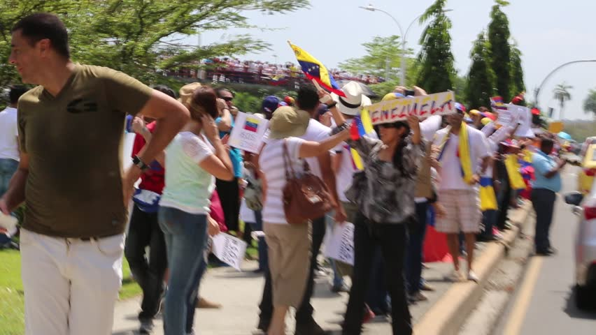 Panama City, Panama, Circa 2013: Venezuelans residents in Panama protest against their own government along the streets of Panama City, Panama, Circa 2013 - HD stock footage clip