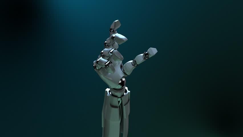 Animated robot hand smashing glass. Alpha channel.