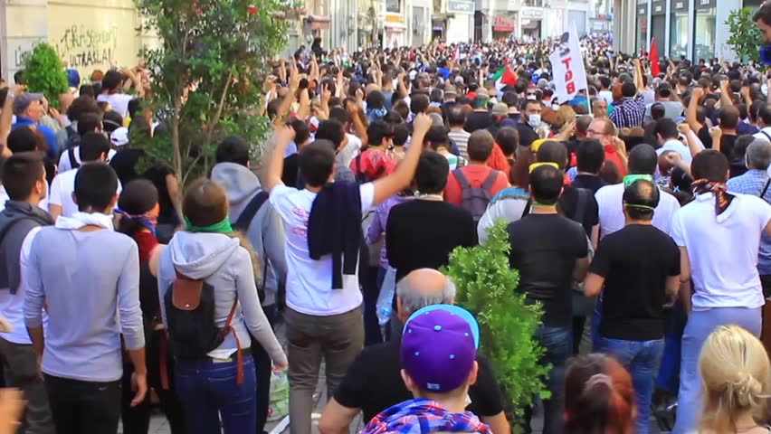 ISTANBUL, TURKEY - JUNE 1, 2013: This is what happened on one of the craziest days yet at occupy Gezi Park. Istiklal Street was jam packed with the people on Saturday