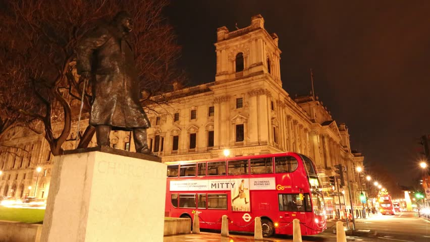 LONDON, UK. 2014. Statue of Winston Churchill is in Parliament Square.