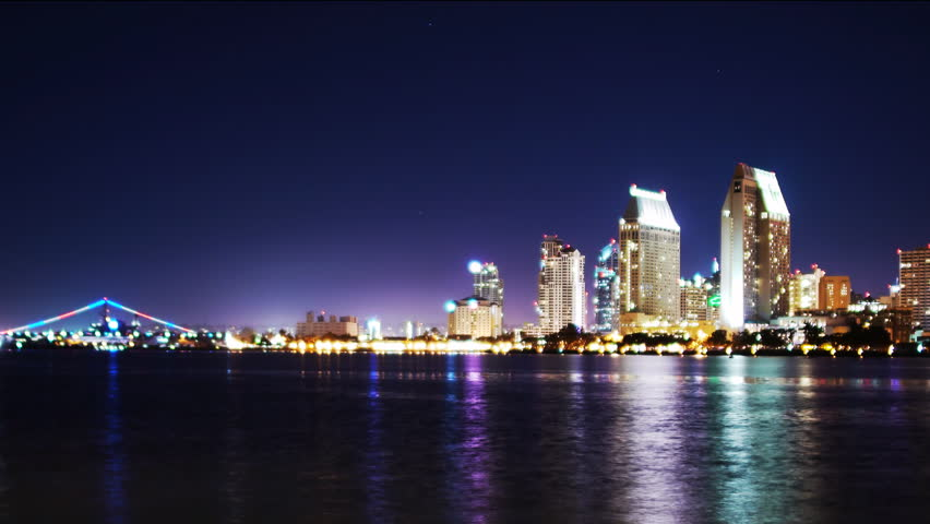 4K Time Lapse of San Diego Skyline Night Cityscape -Tilt Down-