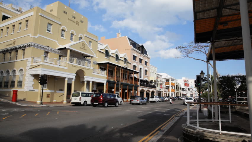 Hamilton, Bermuda - February 2014: Front street in Hamilton Bermuda the main street for nightlife with bars and restaurants