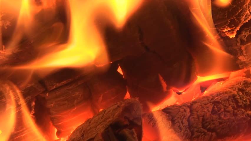 Live coals. Live-coals burning in a campfire, closeup.  - HD stock video clip