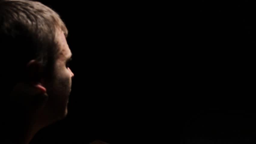 Interrogation man close up face