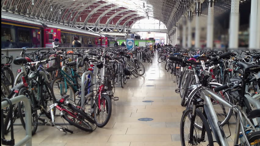Hundreds of bikes, cycles and bicycles at Paddington Station, London, left by commuters and travelers using the railway for commuting.