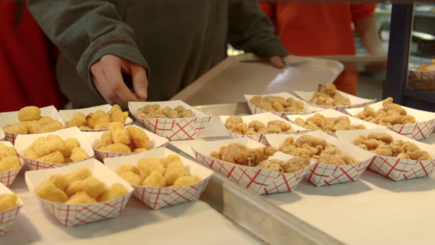 Cafeteria Food Pans ~ Try going through lunch line stock footage video