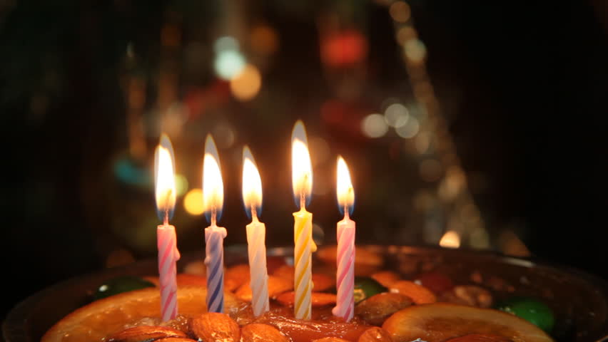 Birthday Cake With Candle Light. Stock Footage Video ...
