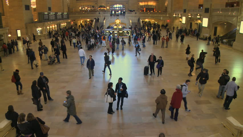 NEW YORK CITY - NOVEMBER 7: A time lapse shows passengers coming and going at Grand Central Station on November 7, 2009 in New York City. - HD stock footage clip
