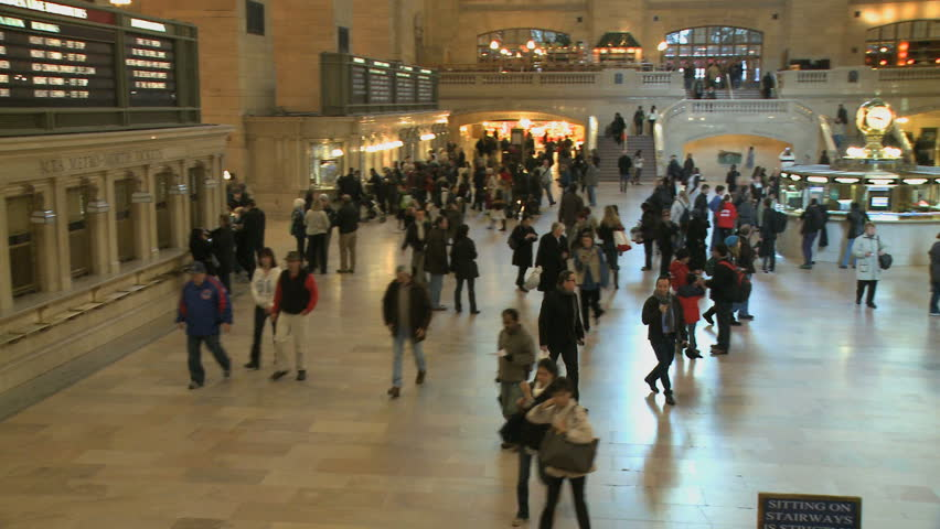 NEW YORK CITY - NOVEMBER 7: The MTA makes announcements as visitors converge on Grand Central Station on November 7, 2009 in New York City. - HD stock footage clip