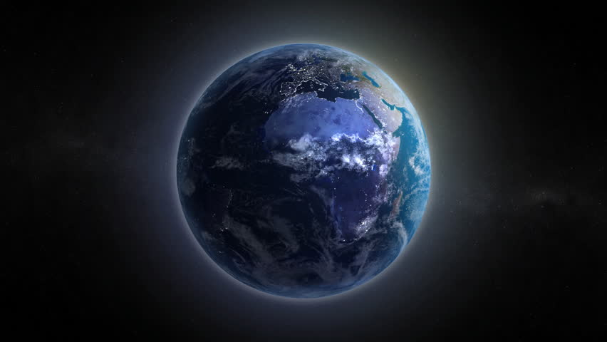 Clip of a rotating Earth with transition from day to night. Perfect loop in HD1080i. Very detailed animation with clouds  and  visible city lights  - HD stock video clip