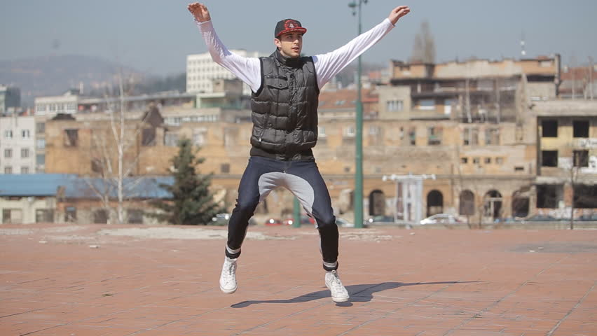 SARAJEVO - MAR 14: Hip-Hop breakdancer dancing on the street on Mart 14, 2014 in Sarajevo, Bosnia and Herzegovina