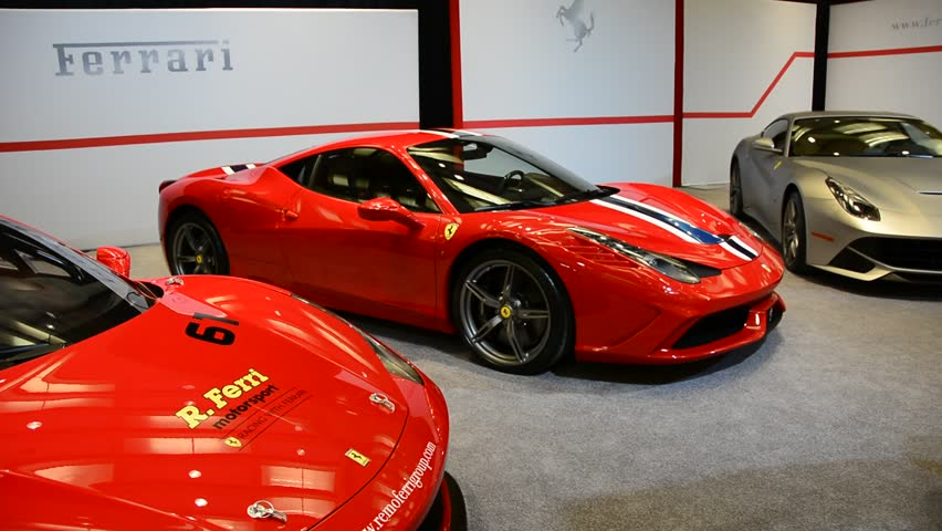 TORONTO,CANADA-FEBRUARY 22, 2014:Ferrari Display at the Exotica Hall in the Canadian International Auto Show. The largest auto show in Canada showcases more than 1000 new cars motorcycles and more.
