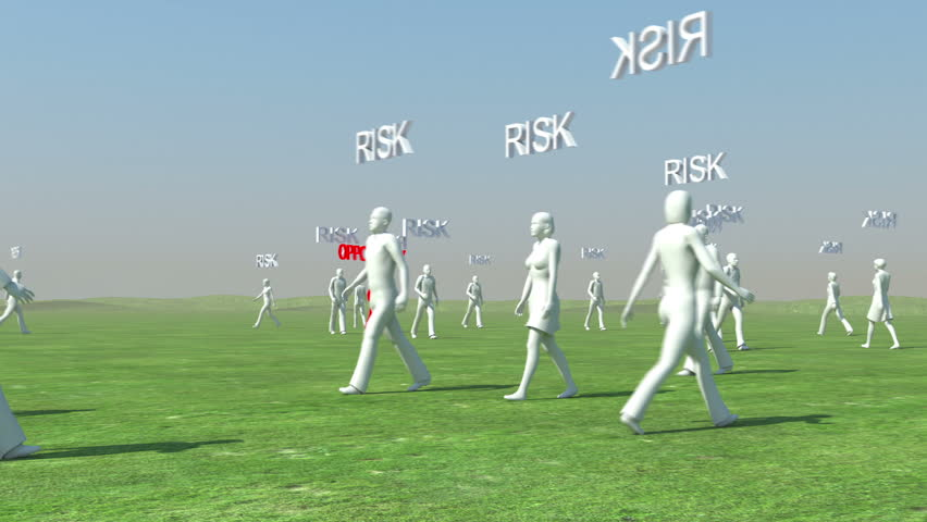 Crowd of people walking with Risk text and red leader with opportunity