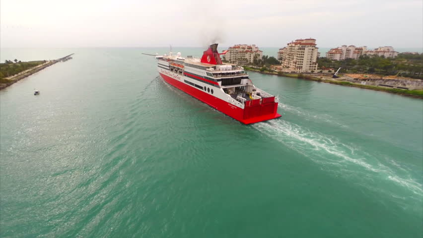 MIAMI - CIRCA 2014 Aerial video of the Resorts World Bimini Superfast - HD stock footage clip