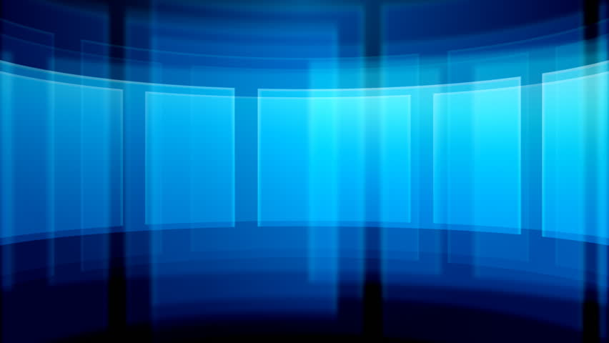 An abstract background of blue rotating glass frames.