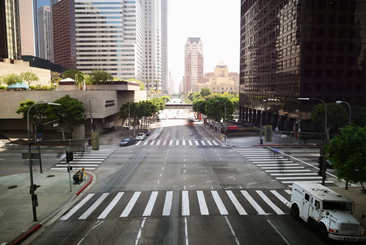 4K Time Lapse of Downtown Intersection in Los Angeles in Daytime -Full Frame-