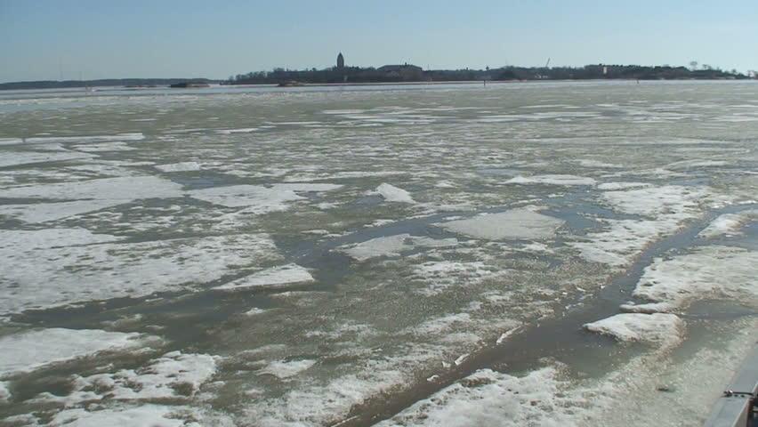 Broken ice in sea one  - HD stock video clip