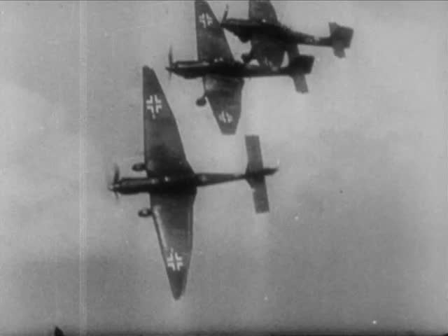 "Three German Junkers Ju 87 ""Stuka"" Dive Bombers planes in flight, during confrontation with US 36th Infantry Division, Salerno, Italy circa September 1943"