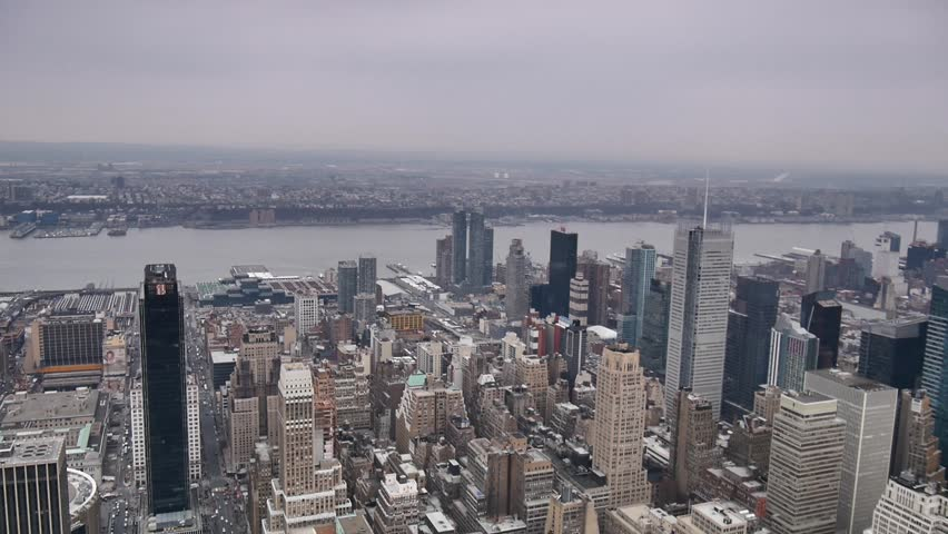 New York City - March, 2014 - Aerial shot of West Side of Manhattan and the Hudson River.