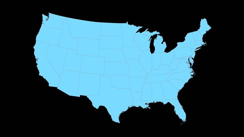 Kansas Animated Map Video Starts With Light Blue USA National Map - Usa map kansas