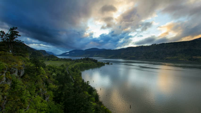 Columbia River Gorge At Hood River Oregon Scenic View During Sunset With Fast...