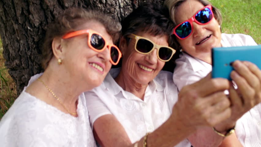 Senior women taking a selfie