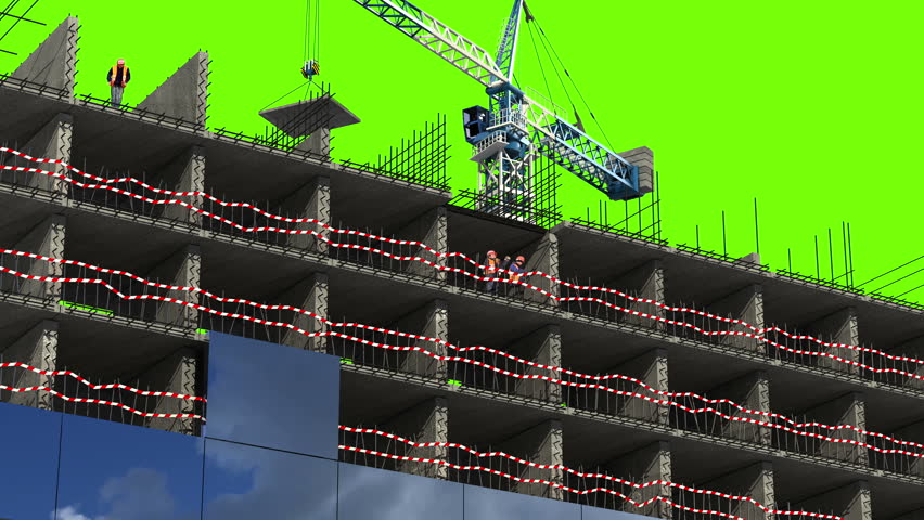 4k building area 3d animation with a green screen time for Builders in my area